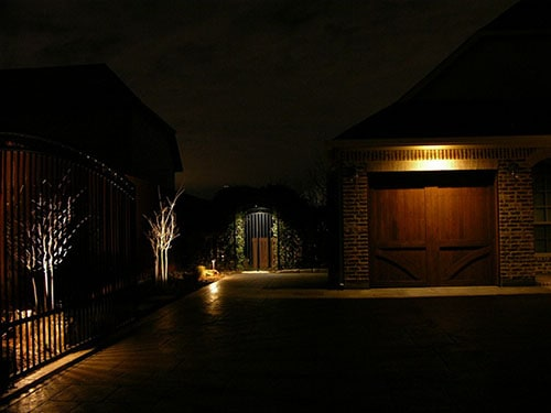 Properly installed security lighting illuminates entry points