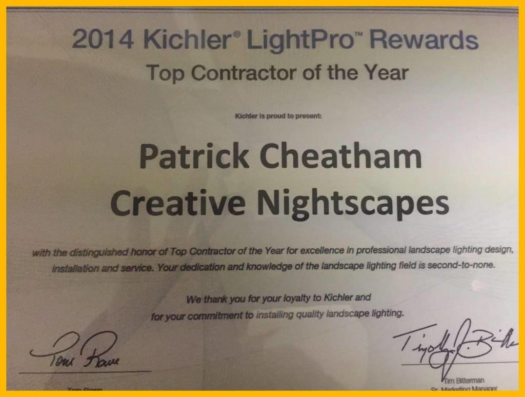 2014 Kichler LightPro Rewards Top Contractor of the Year