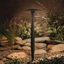 Outdoor LED light overlooking garden