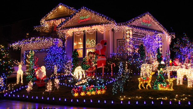 Festive lights decorate a family home at Christmas
