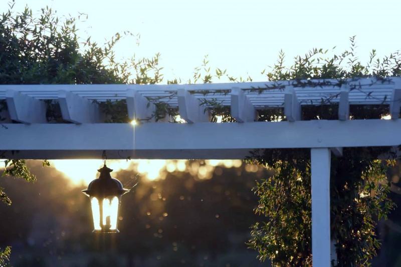 A light fixture hangs from a white trellis