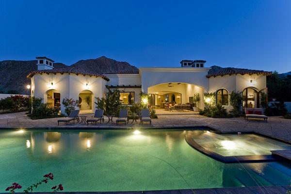 Well lit backyard with LED exterior lighting