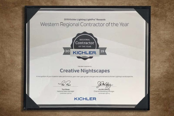 The 2019 Kichler Contractor of the Year Award given to Creative Nightscapes.